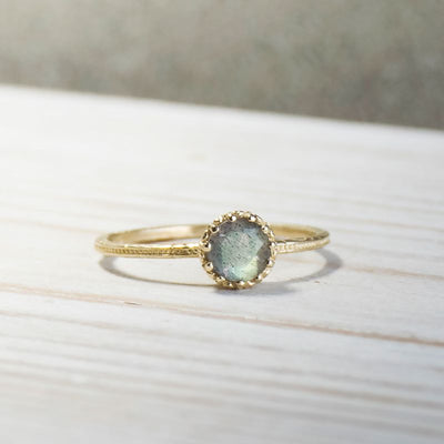 14K Yellow Gold Round Labradorite Dainty Ring