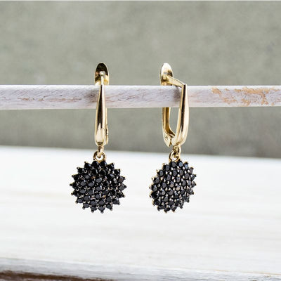 14k Solid Gold Round Black CZ Gemstones Dangle Earrings