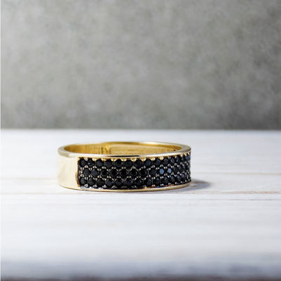 14k Solid Gold Ring With Black CZ Stripes