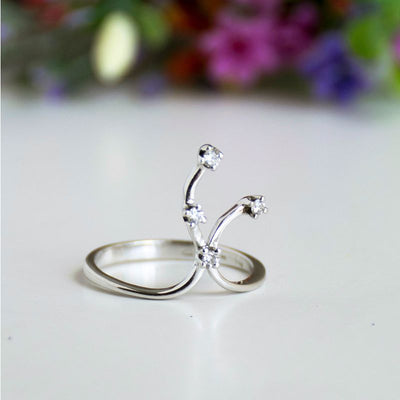 14k Solid White Gold Branches Ring