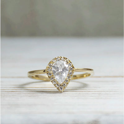 14k Solid Gold Drop Ring With White CZ Gemstone