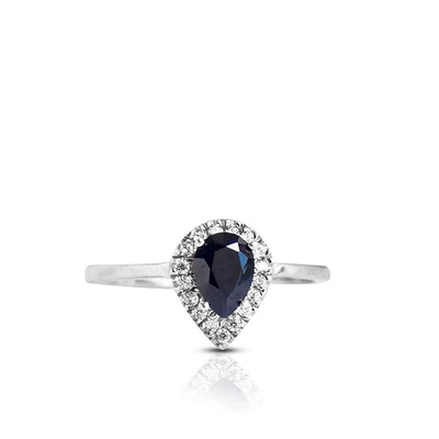 14k Solid Gold Drop Ring With Dark Blue CZ Gemstone