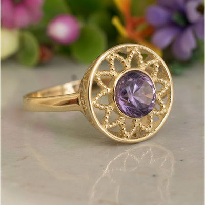 14K Yellow Gold Round Purple Amethyst Ring - Floral Ring , Handmade