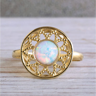 14K Yellow Gold Round White Opal Ring - white opal ring , Handmade
