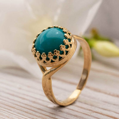 Yellow Gold Plated 925 Sterling Turquoise 10mm