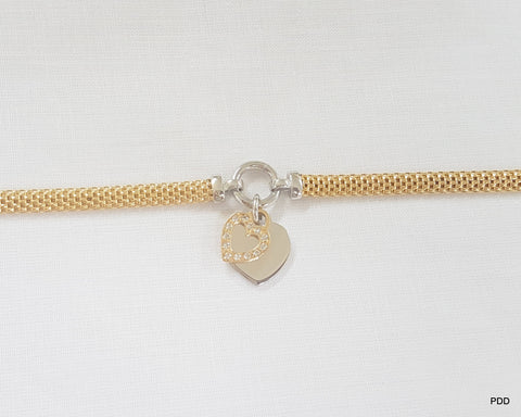 Sterling Silver & Gold Plated Mesh Hearts Bracelet