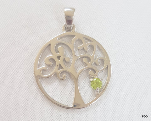 Sterling Silver Tree of Life & Semi-Precious Pendant