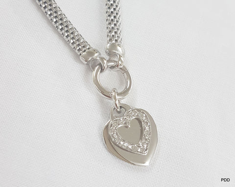 Sterling Silver Mesh Necklace with Hearts