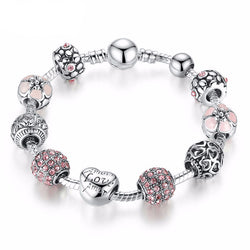 Charming Silver Bracelet With Love and Flower Crystal Ball - LuvFia