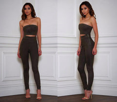 Get your hustle on in this suede two piece jumpsuit.