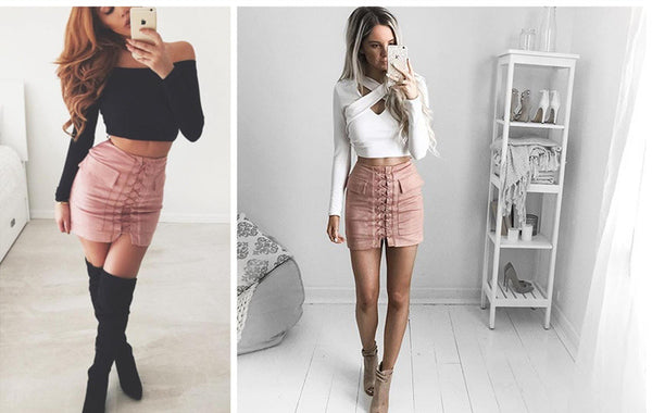 Makayla Laced-Up Suede Mini Skirt