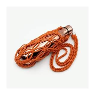 HANDCRAFTED  MACRAME WATER BOTTLE BAG  Orange
