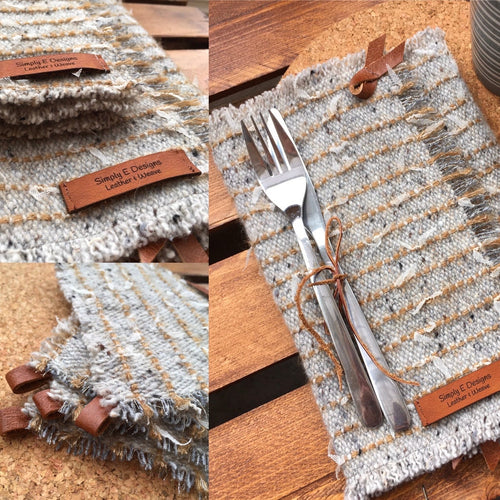 HAND WOVEN TABLE BUNDLE SET in Grey and Mustard
