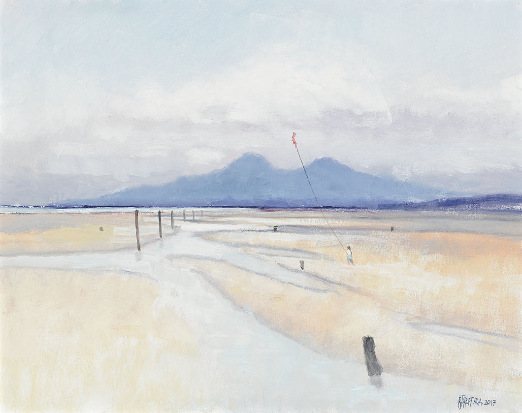 KITE FLYING AT MURLOUGH oil on canvas   Richard Croft RUA