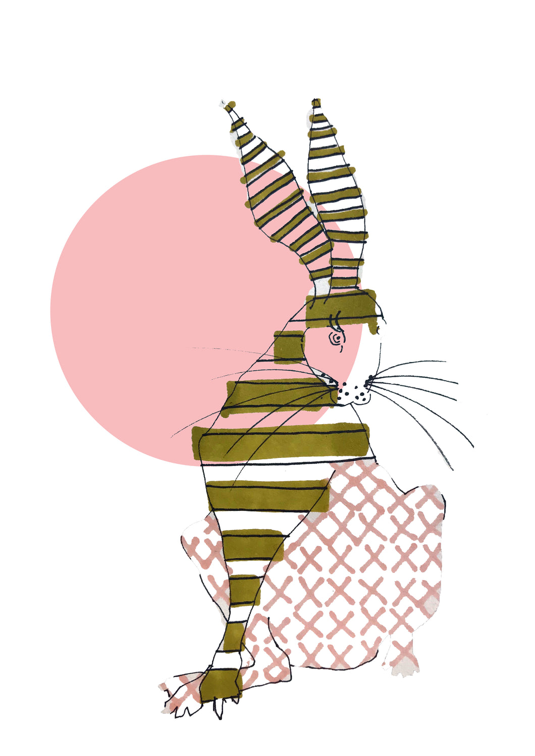 HARE WITH PINK CIRCLE IRELAND print