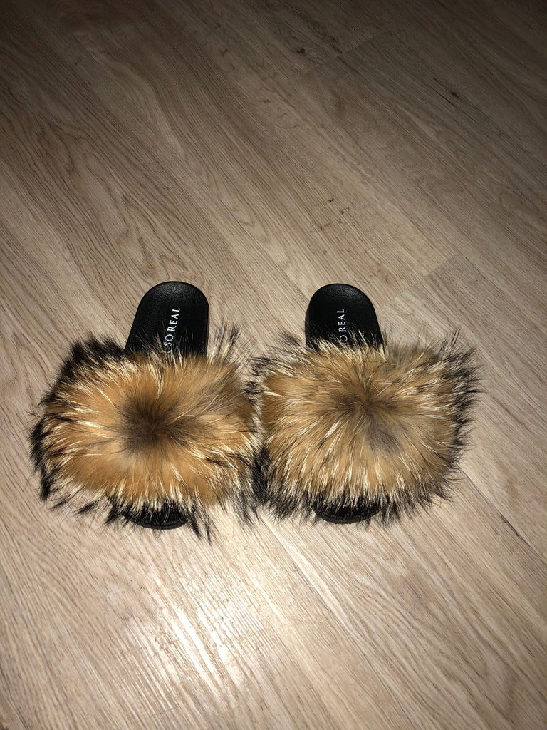 Natural Raccoon Slippers - SHOP SO REAL