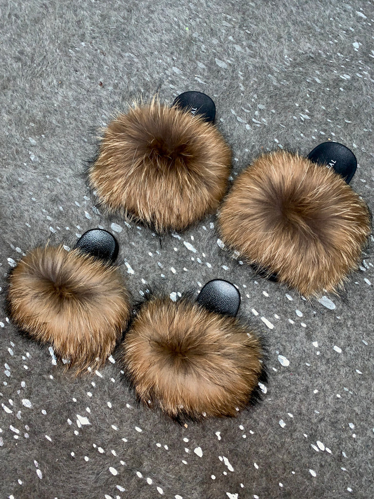 KIDS Natural Raccoon Slippers - SHOP SO REAL