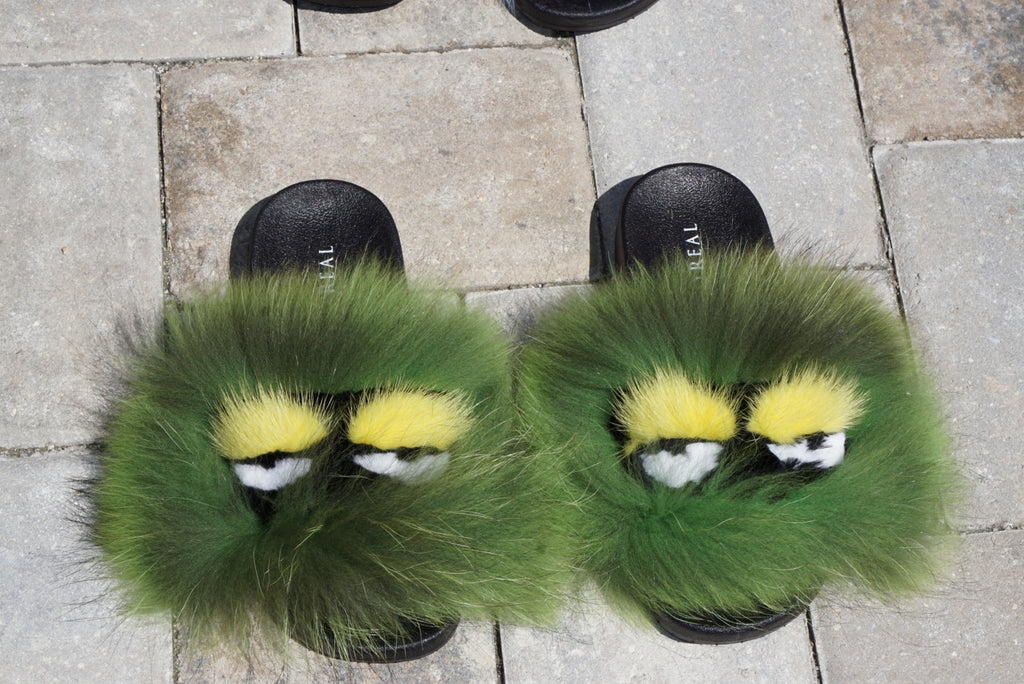 Lemon Lime Raccoon Slippers - SHOP SO REAL