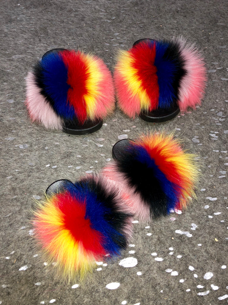 Splat Fox Fur Slippers - SHOP SO REAL
