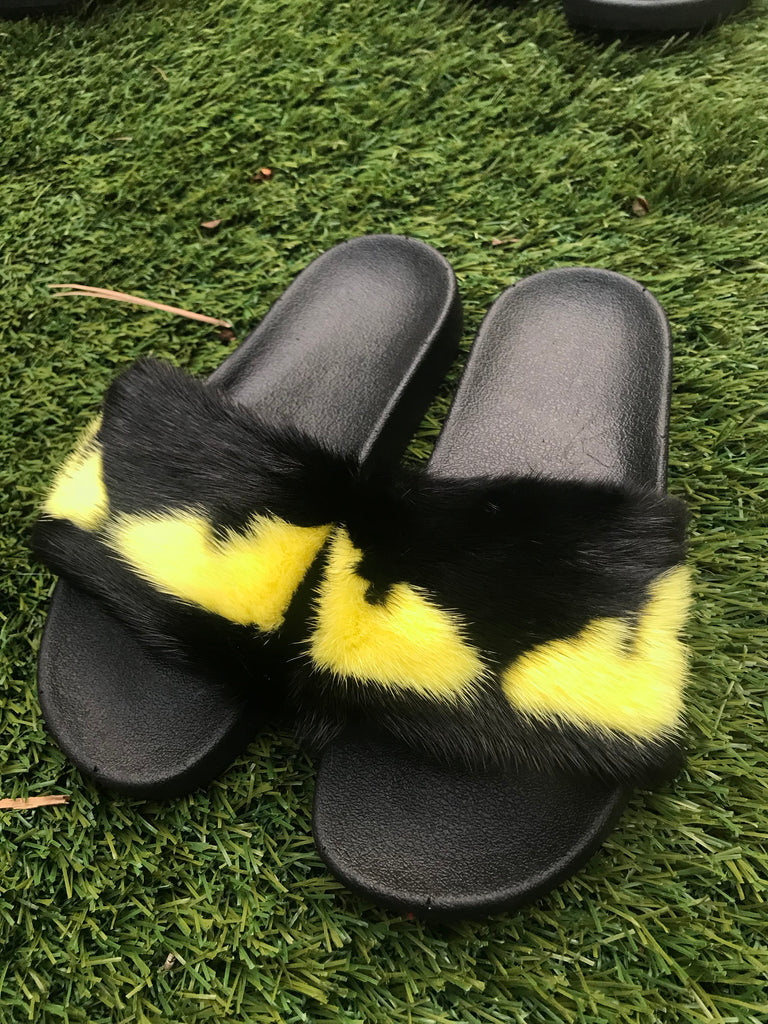 Yellow Eyes Mink Slippers - SHOP SO REAL