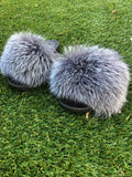 Natural Silver Fox Slippers - SHOP SO REAL