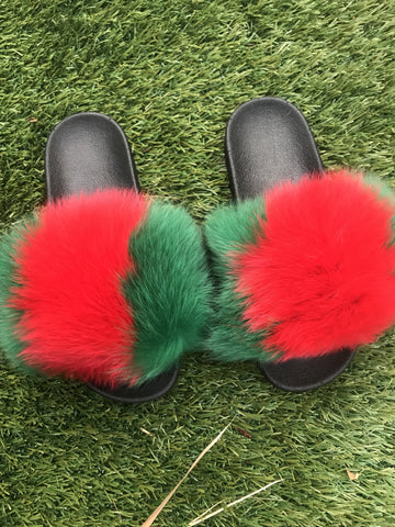 Vertical G Fox Fur Slippers - SHOP SO REAL