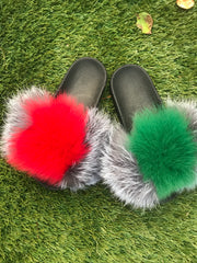 Silver G Fox Slippers - SHOP SO REAL