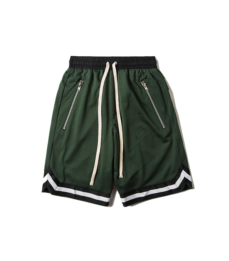 STRIPED DARK GREEN TRACK SHORT
