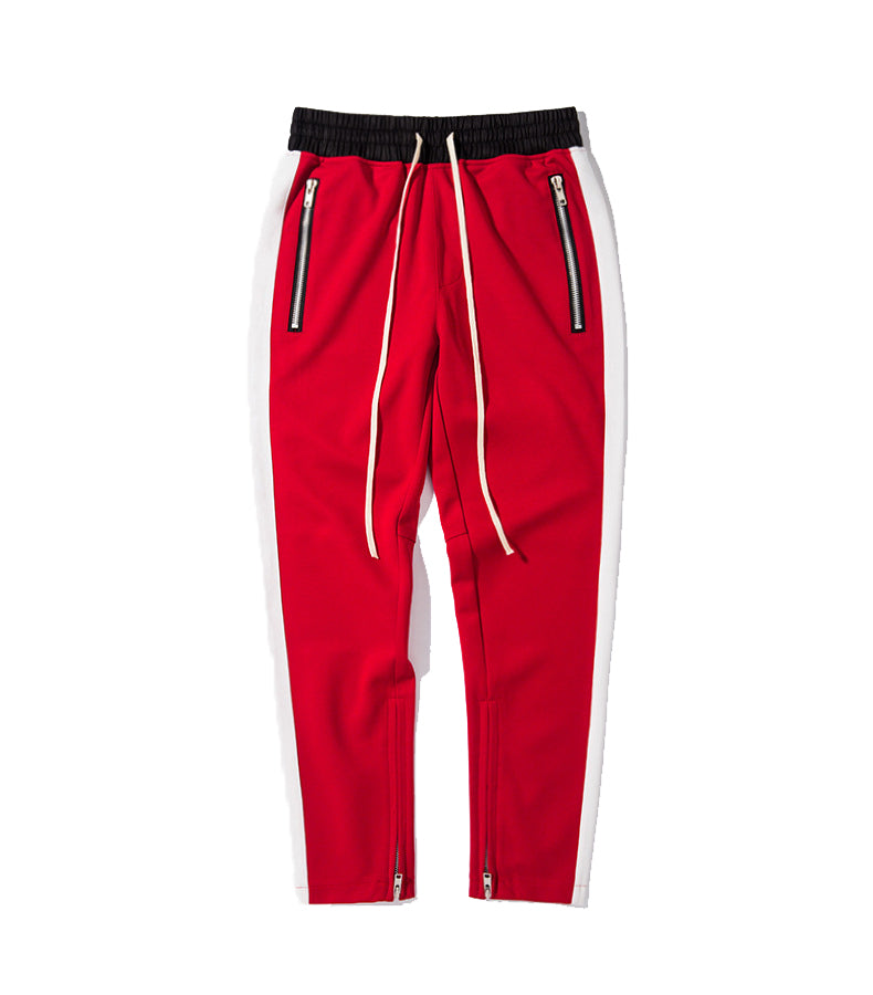 NYLON RED ZIPPER PANTS