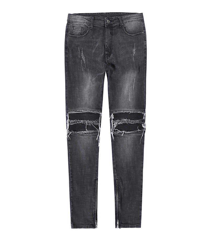 DENIM BLACK DISTRESSED LEATHER BIKER WITH ZIPPER