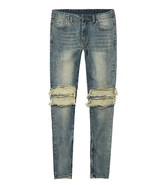 DENIM BLUE DISTRESSED LEATHER BIKER WITH ZIPPER