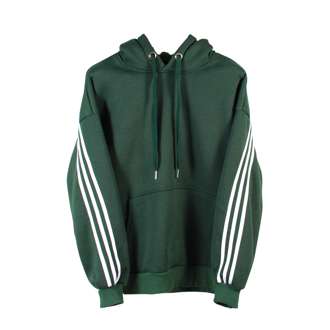STRIPED DARK GREEN HOODIE