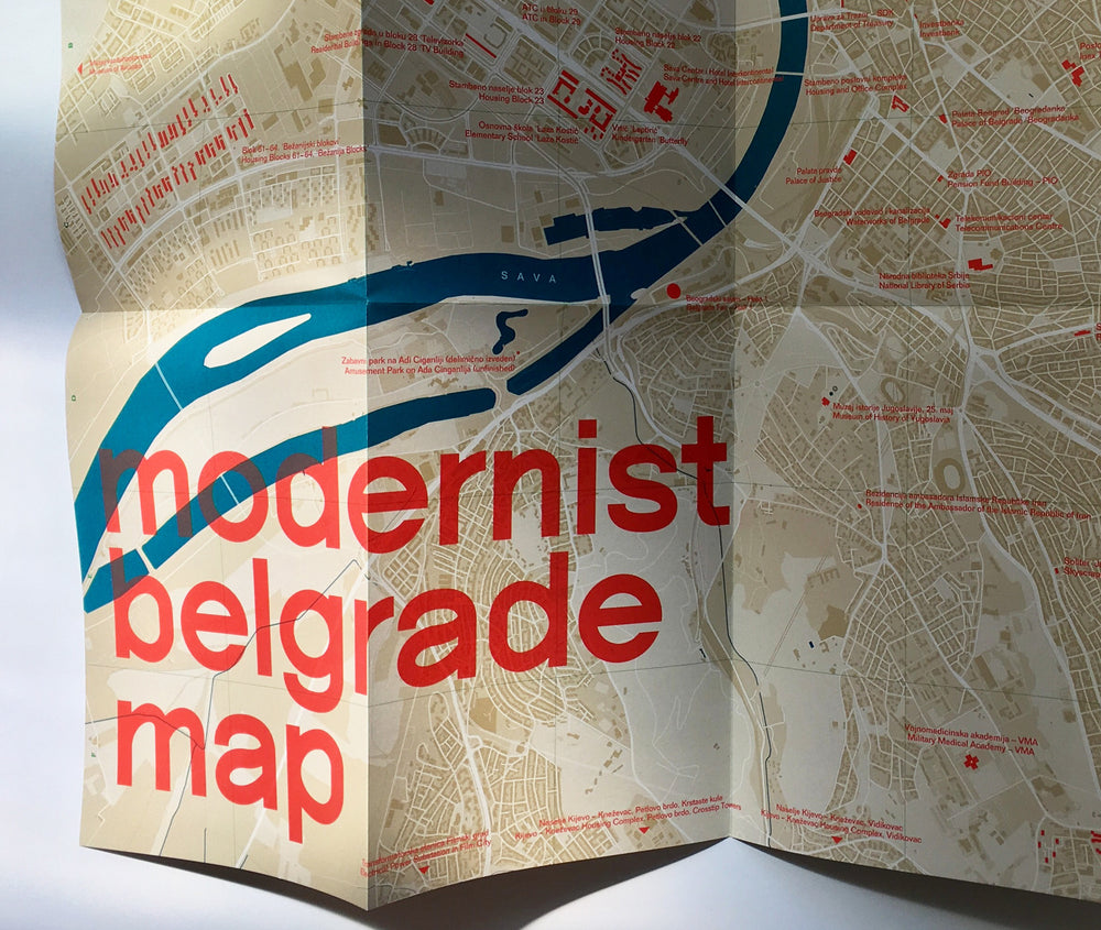 Modernist Belgrade Map Modernisticka Mapa Beograda Blue Crow Media