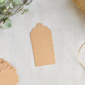 Medium Scalloped Brown Kraft Scalloped Gift Tags