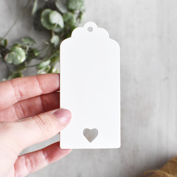 Medium Heart Cut Out White Card Gift Tags