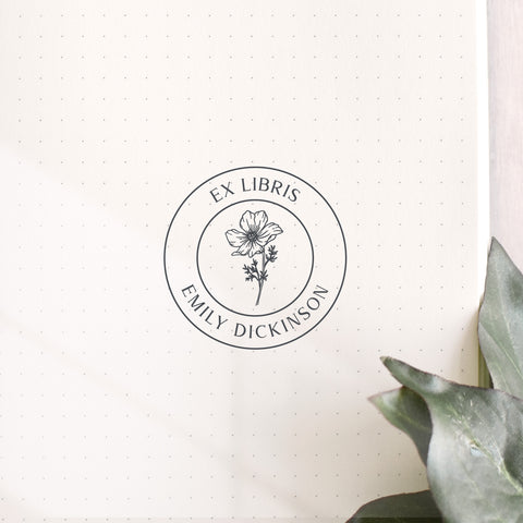 Floral Custom Book Stamp | Ex Libris