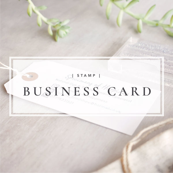 Custom Business Card Stamp | Hand Stamped Logo and Social Media Stamp