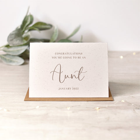 Personalised Auntie Pregnancy Announcement Card | Rose Gold or Silver