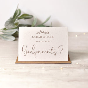 Godparents, Godmother, Godfather Card | Rose Gold or Silver