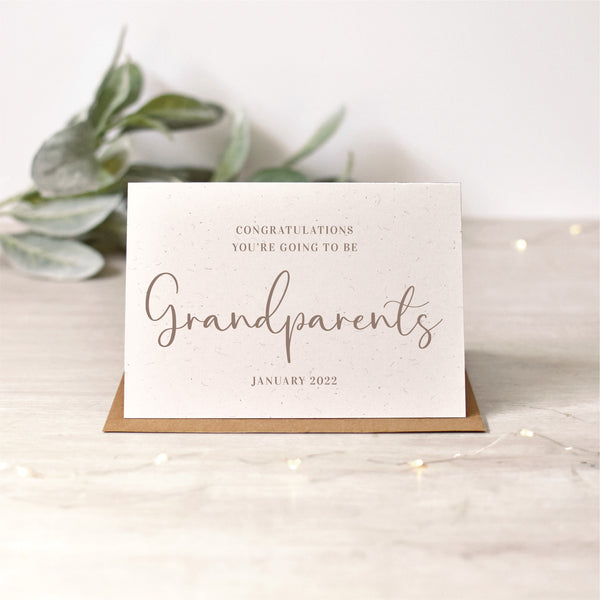Grandparents Pregnancy Announcement Card | Silver or Rose Gold