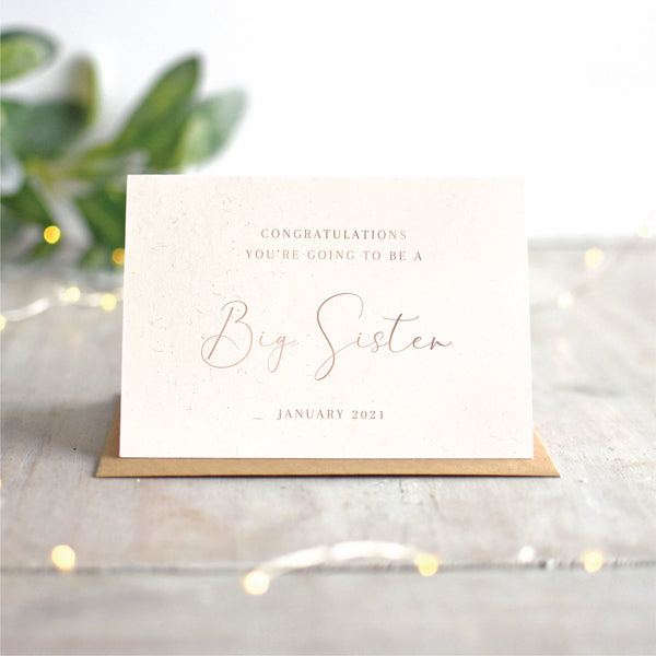 Big Sister Pregnancy Announcement Card | Rose Gold or Silver
