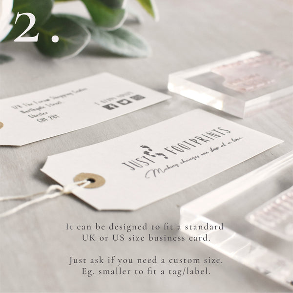 Double Business Card Stamp Set | Custom Logo Stamp and Social Media Details