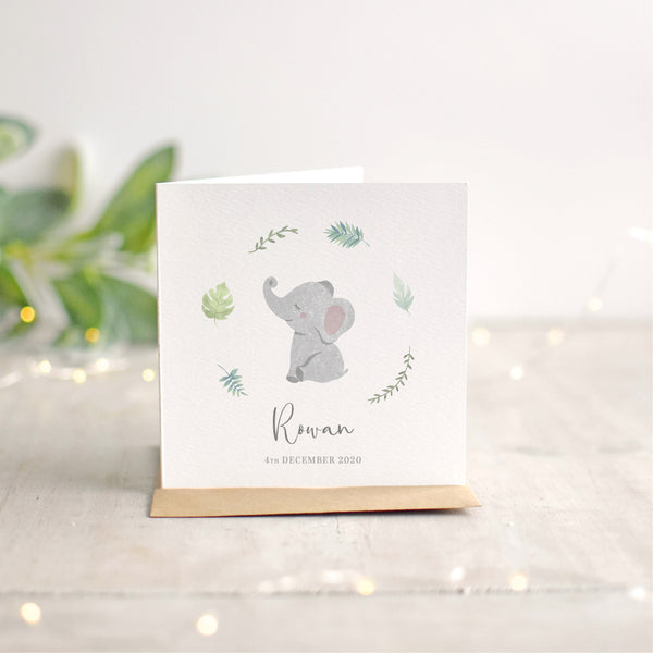 Personalised Elephant New Baby Card
