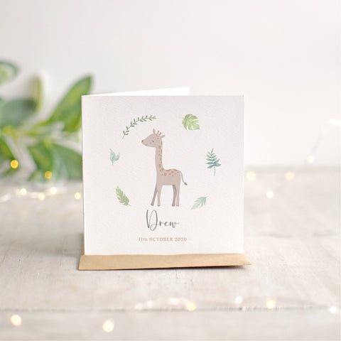 Personalised Giraffe New Baby Card