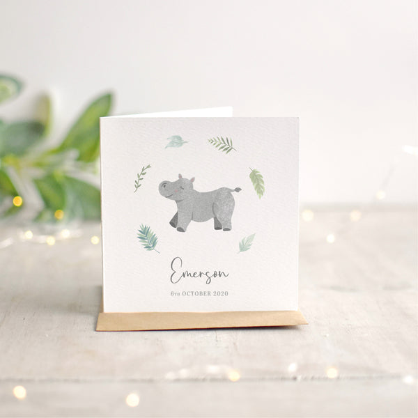 Personalised Hippo New Baby Card