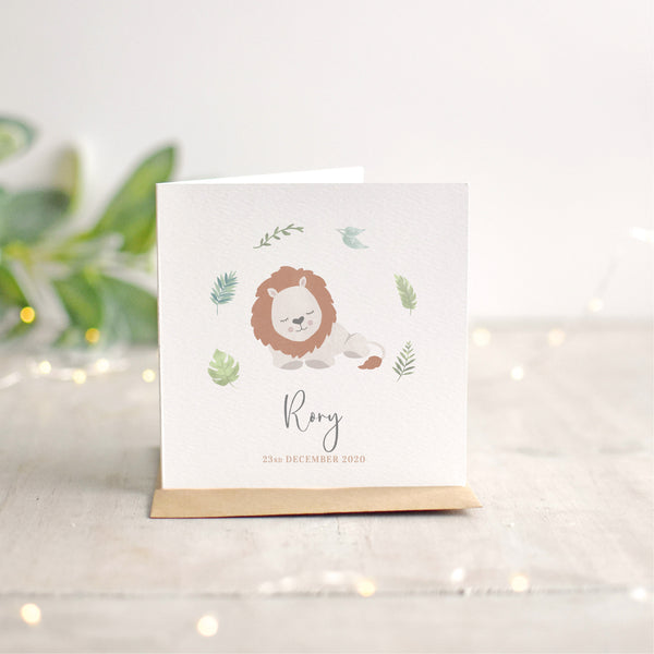 Personalised Lion New Baby Card