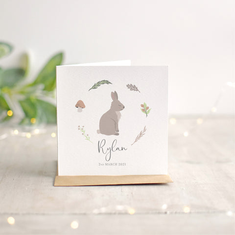Rabbit New Baby Card
