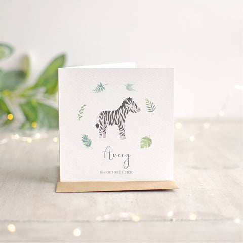 Personalised Zebra New Baby Card