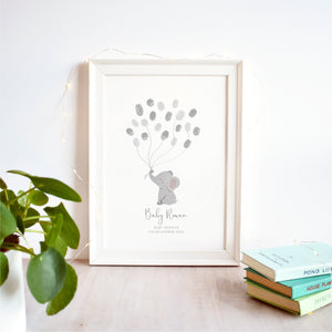 Elephant Fingerprint Baby Shower Guest Book Print | DIGITAL