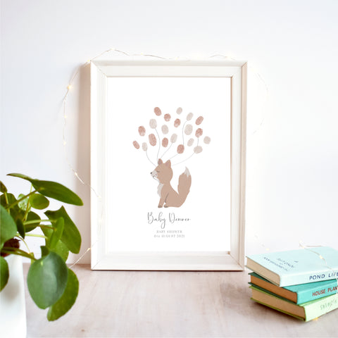 Fox Fingerprint Guest Book Baby Shower Print | Gender Neutral